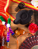 Bullfighter and flamenco typical from Espana Spain torero. Hat castanets comb flag and rose Stock Images