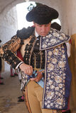 Bullfighter getting dressed for the paseillo or initial parade Stock Images