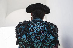 Bullfighter with the hands on the cap before going out to the bu Stock Image