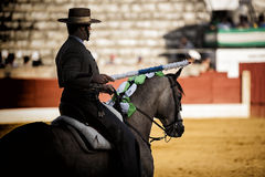 Bullfighter on horseback spanish Stock Photos