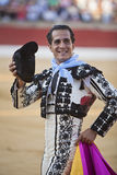Bullfighter Ivan Fandiño to the turning of honour with montera hat in his hand in the Bullring of Baeza Stock Photo