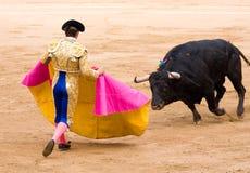 Bullfighter och tjur royaltyfria bilder