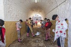 Bullfighter at the paseillo or initial parade Bullfight at Anduj Stock Photos