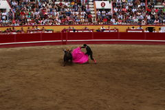 A Bullfighter Sidesteps a Bull. A Portuguese Matador lures a bull in the Angra do Heroísmo arena during the Sanjoaninas. This is the largest yearly festival in Stock Photo