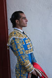 The  bullfighter spanish Ivan Fandiño waiting for the exit in the alley from the bullring of Jaen Royalty Free Stock Photo