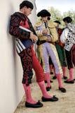 Bullfighters на paseillo или начальном бое быков парада на арене Baeza Стоковые Фото