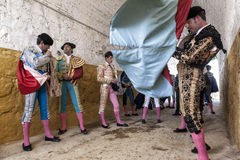 Bullfighters на paseillo или начальном бое быков парада на Andu Стоковые Изображения RF