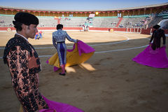 Bullfighters with the Cape before the Bullfight Stock Photography