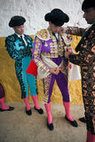 Bullfighters getting dressed for the paseillo or initial parade Royalty Free Stock Image