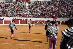 Bullfighters at the paseillo or initial parade Royalty Free Stock Photos