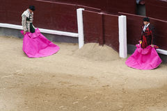 Bullfighters waiting for the bull Royalty Free Stock Photos