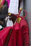 Bullfighting. Capotes and sword , utensils bullfighting Royalty Free Stock Images