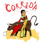 Bullfighting in Corrida  Spain. Hand-drawn illustration of bullfighting in Corrida  Spain with a handsome Spanish matador with his red cape and snorting bull Stock Photography
