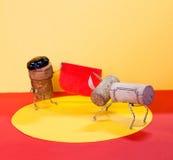 Bullfighting: matador and bull, made of cork. Conceptual image Royalty Free Stock Photo