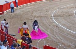 Bullfighting przedstawienie w losie angeles Monumentalnym, Barcelona, Hiszpania fotografia stock