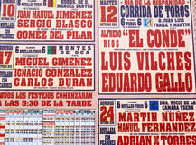 Bullfighting schedule Stock Photo