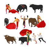 Bullfighting set of corrida people, flat design. Vector bullfighting set of corrida people. Public traditional performance in Spain. Matador, bull, red cape and Stock Image