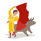 Bullfighting vector illustration. Toreador man in red cape