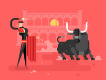 Bullfightingcharcterman vektor illustrationer