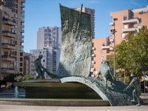 Bullfightingmonument, Praca de Touros, Povoa de Varzim, Portugal arkivfoton