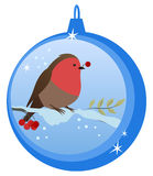 Bullfinch. Beautiful Christmas Ball with cute Bullfinch on it. Christmas decoration for Your design Stock Photography