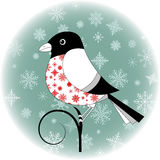 Bullfinch. On the branch in circle with snowflakes vector illustration