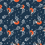 Bullfinch and berberry branch seamless pattern. Vector background Royalty Free Stock Images