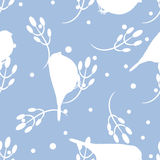 Bullfinch and berberry branch seamless pattern. Vector background Stock Photos