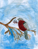 Bullfinch bird - child art. Bullfinch bird sitting on the branch of a rowan tree. Watercolor picture made by child Royalty Free Stock Image