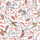 Bullfinch birds seamless pattern with Mountain ash leaves and berries. Merry Christmas collection background. Natural royalty free illustration