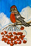 Bullfinch on branch of ashberry tree, painting. Hand painted picture, gouache - bullfinch bird sitting on branch of ash tree with berries royalty free illustration
