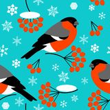Bullfinch, branch and berries Rowan, Snowflakes. Seamless pattern. For New Year and Christmas projects. Bullfinch, branch and berries Rowan, Snowflakes stock illustration