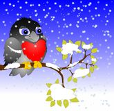 Bullfinch on the branch. Funny bullfinch on a branch on a background of snowflakes stock illustration