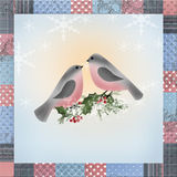 Bullfinch on branch of holly greeting christmas card patchwork. Bullfinch on branch of holly greeting christmas card with patchwork border background royalty free illustration