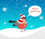 A bullfinch with a festive fur coat and a hat like Santa`s is walking in the snow. Flat style bullfinch with text bubble text Merr royalty free illustration