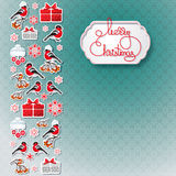 Bullfinch, gift, snowflake seamless background. Royalty Free Stock Photography