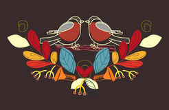 Bullfinch-Illustration Herbst Lizenzfreie Stockfotografie