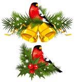 Bullfinch mit Weihnachtsglocken lizenzfreie abbildung