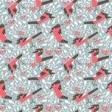 Bullfinch seamless pattern in flat simple style. Doodle floral b Royalty Free Stock Photos