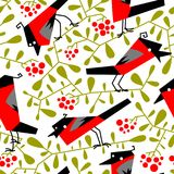 Bullfinch seamless pattern in flat simple style. Doodle floral b Stock Photo