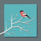 Bullfinch sitting on a branch on the background of snowfall stock illustration