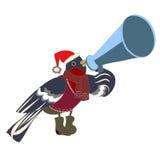 Bullfinch, sprechend durch ein Megaphon Stockbilder