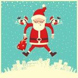 Bullfinch- und Santa Claus-Fliegen im Winterhimmel Frohe Weihnachten stock abbildung