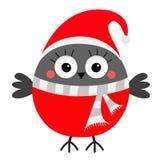 Bullfinch winter red feather bird. Santa hat, gray scarf. Merry Christmas. New Year. Greeting card. Cute cartoon kawaii funny baby. Character. Flat design stock illustration