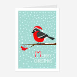 Bullfinch winter red feather bird sitting on rowan rowanberry sorb berry tree branch. Santa hat. Cute cartoon funny character. Gre Royalty Free Stock Image