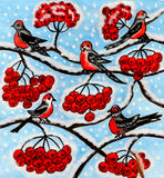 Bullfinches on ash tree, painting Royalty Free Stock Images