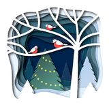 Bullfinches on a branch. Winter landscape with Christmas fir. Design in paper art style. Vektor stock illustration
