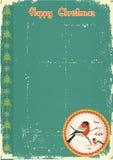 Bullfinches im Winter. Weinleseweihnachtskarte Stockfoto