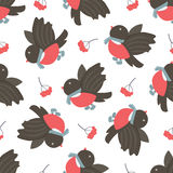 Bullfinches and rowan. Winter seamless pattern. Royalty Free Stock Photos