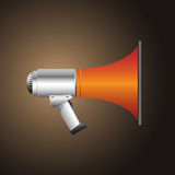 Bullhorn. An illustration of an orange and silver bullhorn over a chocolate brown background Stock Image